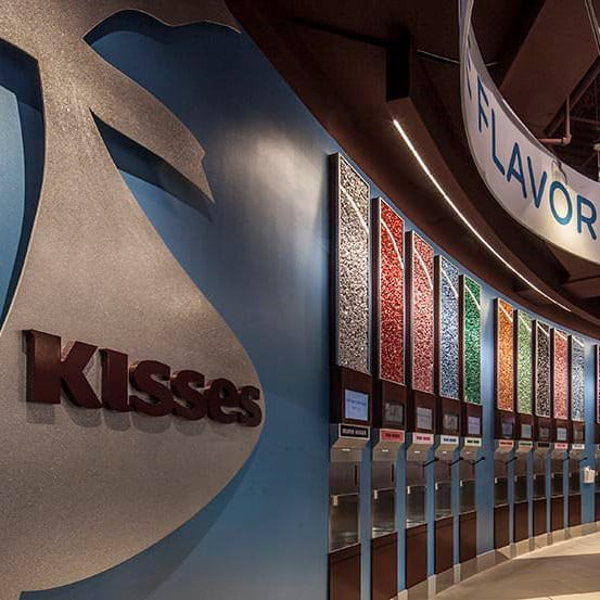 Wall of HERSHEY'S KISSES at HERSHEY'S CHOCOLATE WORLD Las Vegas
